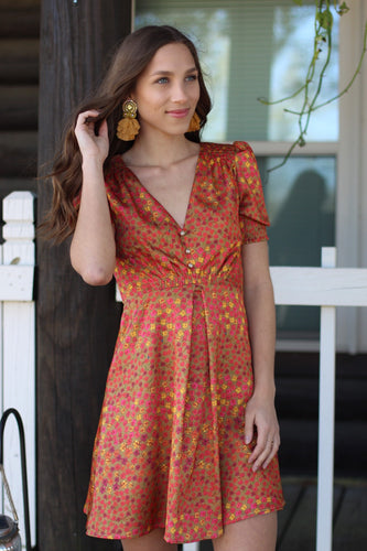 Printed Sundress With Button Detail - Breazy's Boutique