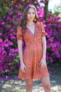 Printed Sundress With Button Detail