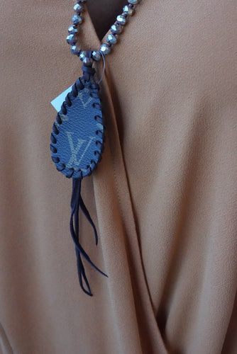 Lv Bead Leather Necklace - Breazy's Boutique
