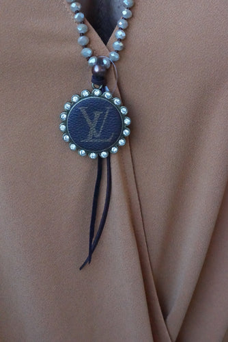 Tan Beaded Lv Tie Necklace