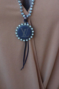 Tan Beaded Lv Tie Necklace - Breazy's Boutique