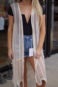 Sleeveless Crochet Kimono - Breazy's Boutique