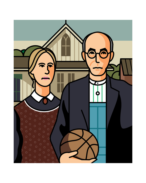 American Gothic with Basketball Art Print 16x20