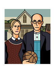 American Gothic with Basketball Art Print 18x24