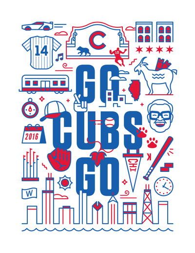 Chicago Cubs Baseball Art Poster