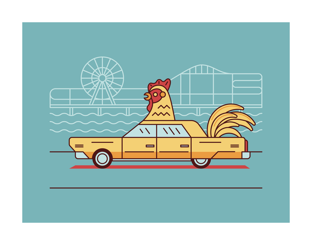 Chicken Car Art Print