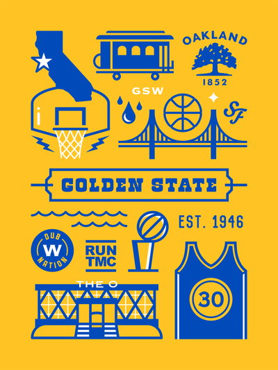 Golden State Warriors Basketball Art Poster