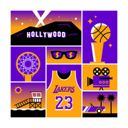 Los Angeles Basketball Art Print 12x12