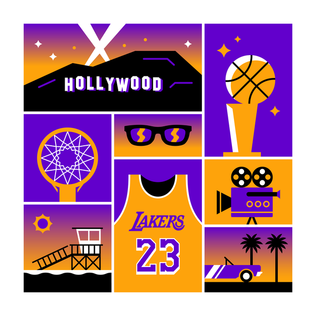 Los Angeles Basketball Art Print 20x20