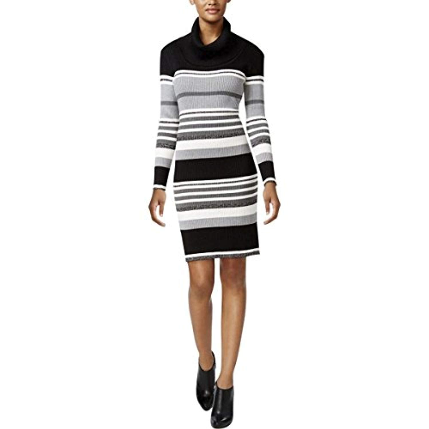 4e85d1fcb8b2 Connected Apparel Gray White Striped Small Sweater Dress – WildDealz