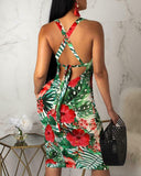 Green Floral Bodycon Dress