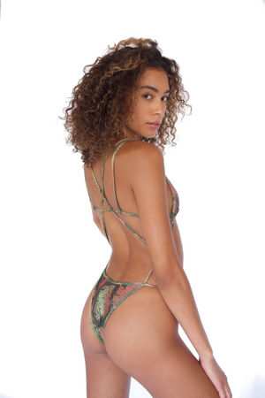 EDEN ONE PIECE - GREEN SNAKESKIN