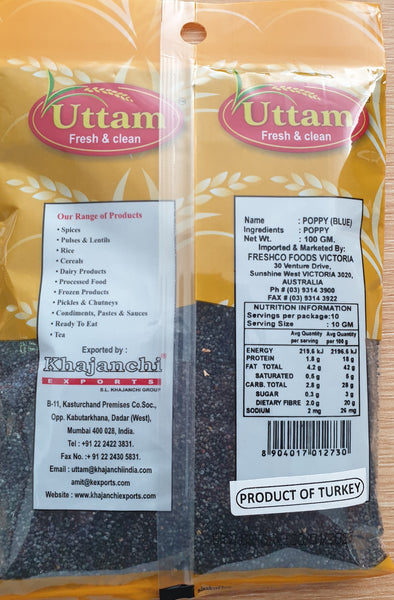 POPPY SEEDS BLUE, UTTAM, 100G