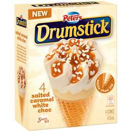 PETERS ICE CREAM DRUMSTICK CML & W/CHOC 4 PCS