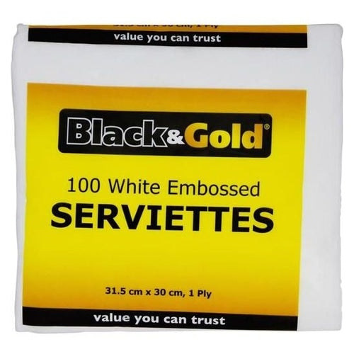 BLACK & GOLD, SERVIETTE WHITE EMBOSSED, 100 pcs