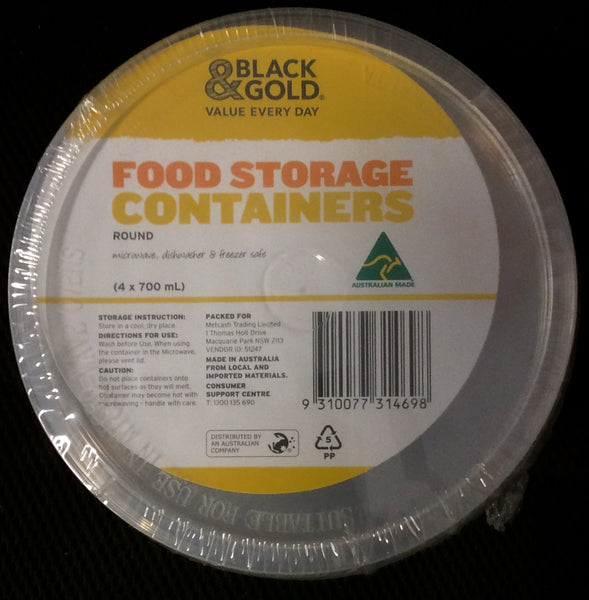 FOOD CONTAINER ROUND, B&G, 4X700ML