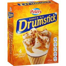 PETERS ICE CREAM DRUMSTICK CARAMEL 4 PCS