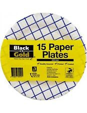 15 PAPER PLATES 225MM BLACK &GOLD