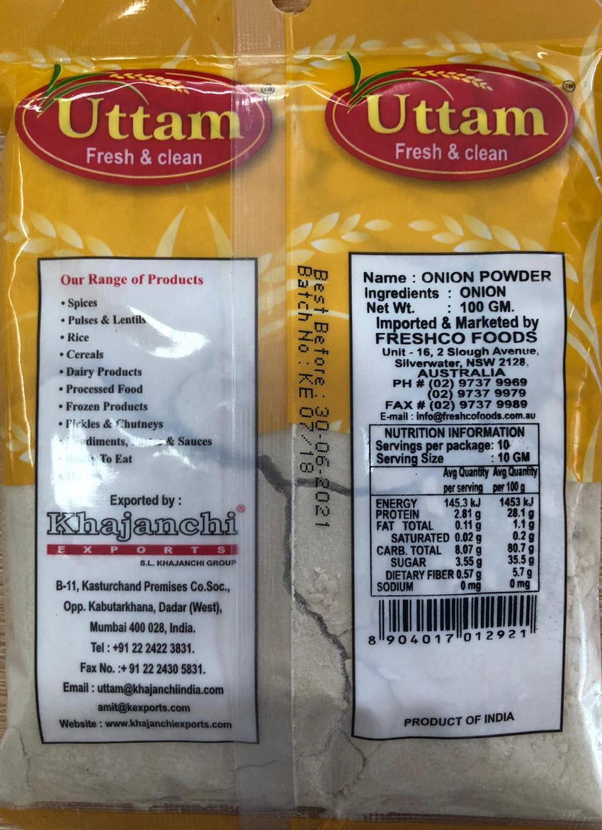 ONION POWDER, UTTAM, 100G