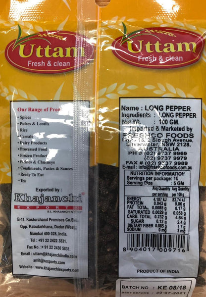LONG PEPPER (PIPPALI), UTTAM, 100G