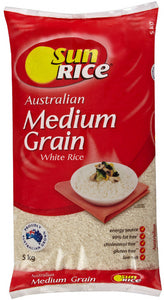 Medium Grain White rice, Sunrice 5kg