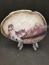 Load image into Gallery viewer, Wolf scene on agate slice