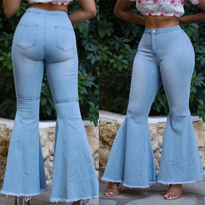 funchilli.com Bottoms HIGH WAIST FLARED BLUE DENIM RETRO BELL JEANS