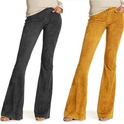 funchilli.com Bottoms Women's Solid Color High Waist Corduroy Bell-Bottom Pants