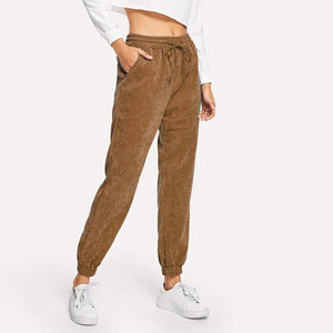 funchilli.com Harem Pants High-waist Corduroy Drawstring Casual Loose Trousers