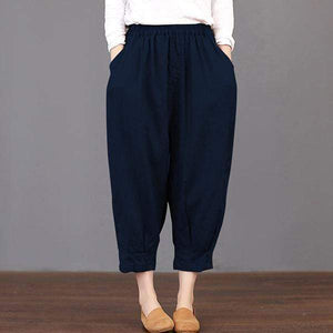 funchilli.com Harem Pants navy blue / S 2019 New Fashion Elastic Waist Casual Pleated Cotton Pants