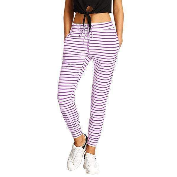 funchilli.com Joggers&Sweatpants Purple / S Striped Drawstring Casual High Waist Jogging Pants