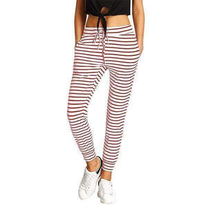 funchilli.com Joggers&Sweatpants Red&White / S Striped Drawstring Casual High Waist Jogging Pants