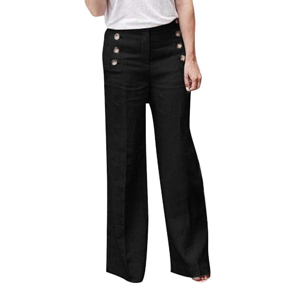 funchilli.com Palazzo Pants Black / S Cotton Linen Solid Color Casual Button Wide Leg Pants