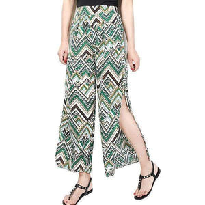 funchilli.com Palazzo Pants Green / M Ladies Vintage Slim Wide Leg Split Casual Pants