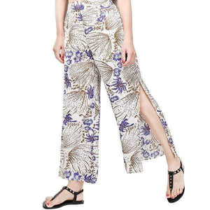 funchilli.com Palazzo Pants Purple / M Ladies Vintage Slim Wide Leg Split Casual Pants