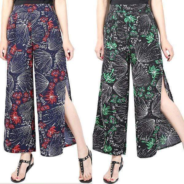funchilli.com Palazzo Pants Red+Black($24.99 Per Pcs) / M Ladies Vintage Slim Wide Leg Split Casual Pants