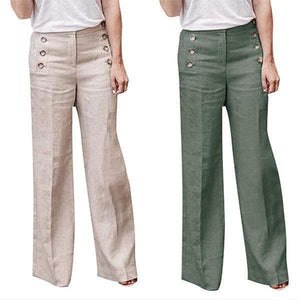 funchilli.com Palazzo Pants ¡¾SPECIAL OFFER¡¿Beige+Green£¨$26.99 per pcs£© / S Cotton Linen Solid Color Casual Button Wide Leg Pants