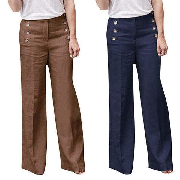 funchilli.com Palazzo Pants ¡¾SPECIAL OFFER¡¿Khaki+Navy£¨$26.99 per pcs£© / S Cotton Linen Solid Color Casual Button Wide Leg Pants