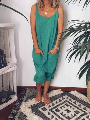 funchilli.com Plus Size Bottoms Green / S Sling Backless Pocket Jumpsuit