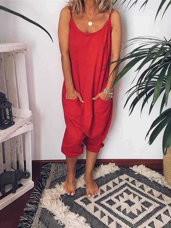 funchilli.com Plus Size Bottoms Red / S Sling Backless Pocket Jumpsuit