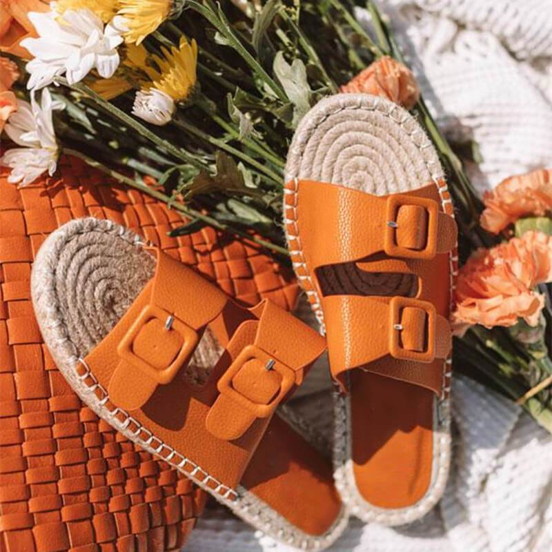 funchilli.com Shoes orange / US5.5 2019 New Adjustable Herb Sole Flat Women's Sandals-Suitable for any foot type.Prevent athlete's foot