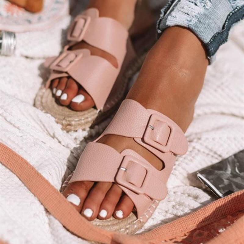 funchilli.com Shoes Pink / US5.5 2019 New Adjustable Herb Sole Flat Women's Sandals-Suitable for any foot type.Prevent athlete's foot