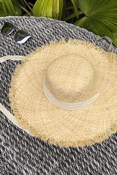 yoyoyoyoga Accessories Light Khaki Tassel wide-brimmed sun hat beach