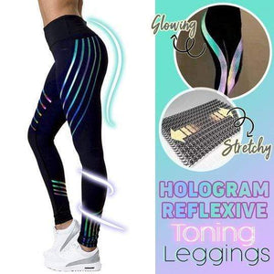 yoyoyoyoga Black / M Reflective Striped Printed Stretch Yoga Pants