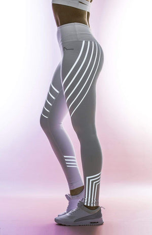 yoyoyoyoga Black / S Yoga Pants Reflective Striped Printed Stretch Trousers
