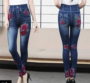 yoyoyoyoga Bottoms 1 / Free Size (40kg-76kg) Comfortable Stretchy Slimming Jeans Printing Leggings