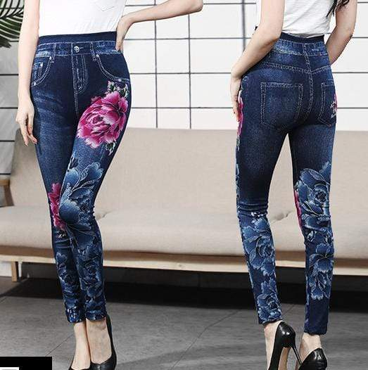 yoyoyoyoga Bottoms 2 / Free Size (40kg-76kg) Comfortable Stretchy Slimming Jeans Printing Leggings
