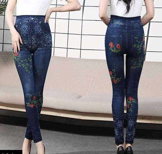 yoyoyoyoga Bottoms 3 / Free Size (40kg-76kg) Comfortable Stretchy Slimming Jeans Printing Leggings
