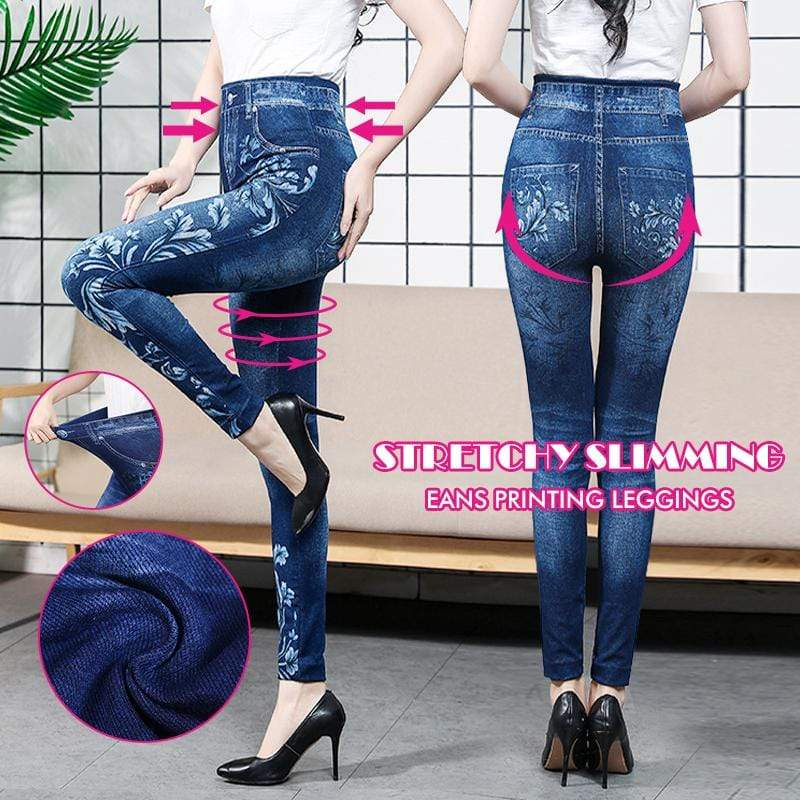 yoyoyoyoga Bottoms 4 / Free Size (40kg-76kg) Stretchy Slimming Jeans Printing Leggings
