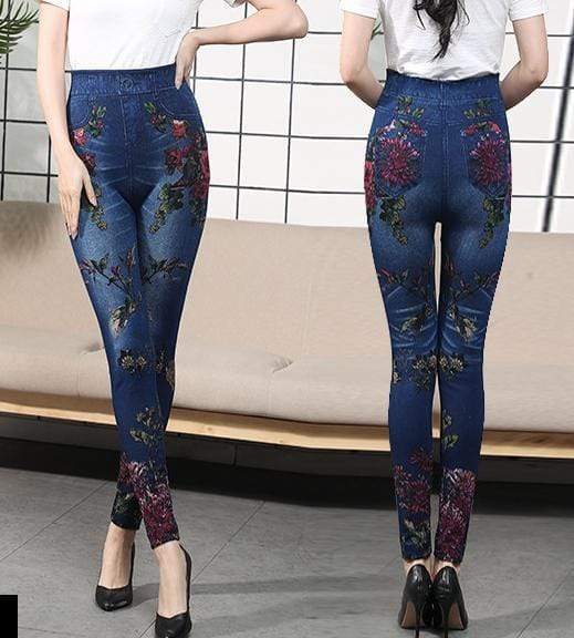 yoyoyoyoga Bottoms 8 / Free Size (40kg-76kg) Comfortable Stretchy Slimming Jeans Printing Leggings